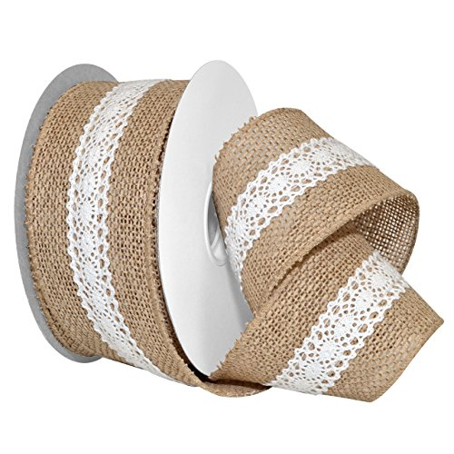 Morex Ribbon 7459.60/10-004 French Wired Polyester Burlap and Lace, 2-1/2