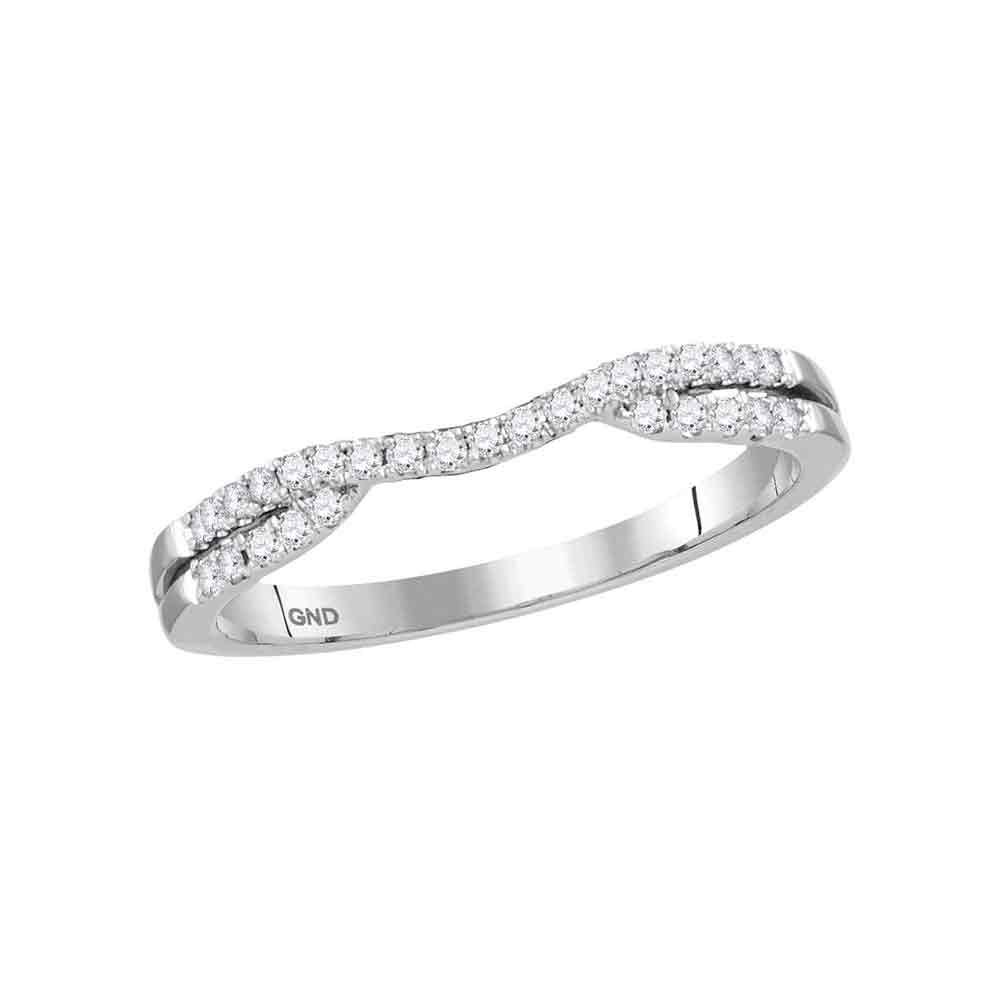 14kt White Gold Womens Round Diamond Contour Enhancer Wedding Band Ring 1/6 Cttw