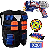 POKONBOY Vest Compatible with Nerf Guns - Blaster Gun and Tactical Vest with Wrist Band, Foam Darts and Dartboard for Kids Boys Use (Gift Box Included)