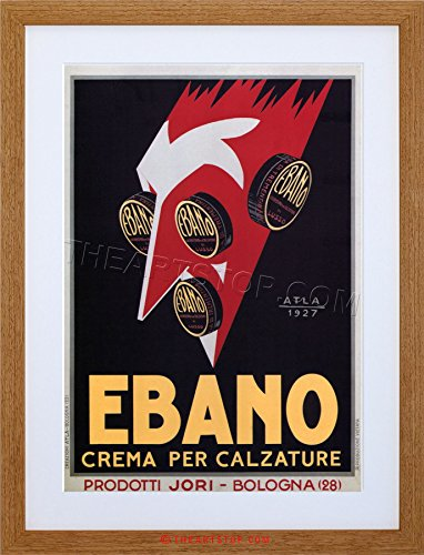 (The Art Stop AD Shoe Polish Ebano Bologna Italy Vintage Framed Print F12X2116)