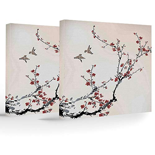 2 Panels Stretched Canvas Framed Wall Art,House Decor,Modern Home Decor Stretched and Framed Ready to Hang,Cherry Branches Flowers Buds and Birds Asian Style Artwork with Painting Effect
