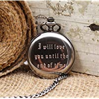 Antique Victorian Engravable Pocket Watch Mens Personalized Mechanical Pocketwatch Groomsmen gift idea MPW017