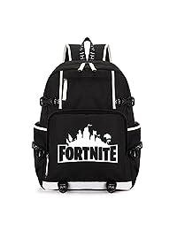 Fortnite Backpack Children Kids School Bag Laptop Backpack Bookbag for Men Boys Girls (White)