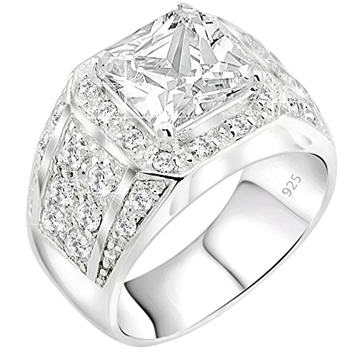 Sterling Silver .925 High Polish Ring with Large White Princess Cut Center Stone Surrounded by 32 Cubic Zirconia (CZ) Stones (14)