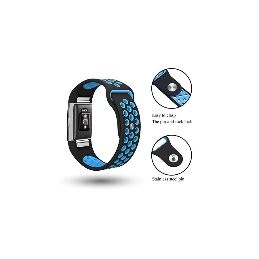 "SWEES Silicone Sport Bands Compatible Fitbit Charge 2, Breathable Sport Replacement Bands Air Holes Small & Large (5.7"" 8.3"") Women Men, Black, Grey, Navy Blue, Pink, White, Teal"