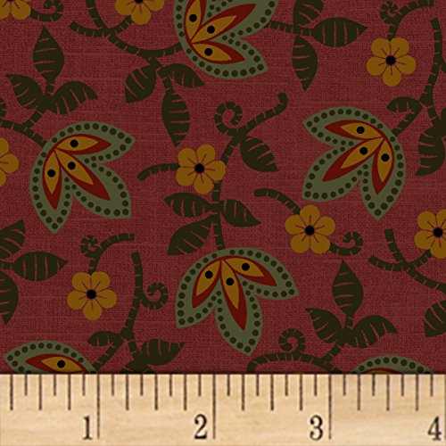 Marcus Brothers 0559013 Pam Buda Pieceful Pines Red Fabric by The Yard, ()