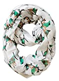 Peach Couture Beautiful Vintage Two Colored Bird Print Infinity Loop Scarf (White/Green)
