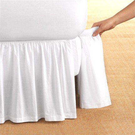 Detachable Bedskirt Dust Ruffle King Size 18'' drop White