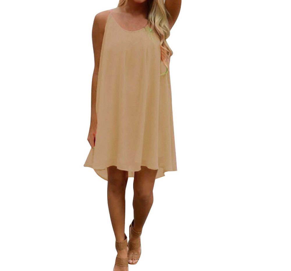 Quealent Women's Sleeveless Loose Plain Dresses Casual Short Dress with Pockets Beige