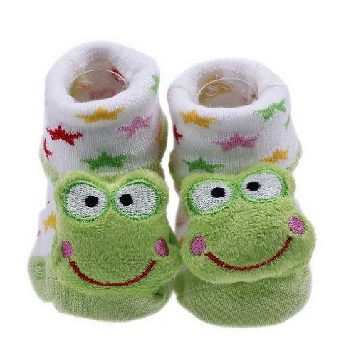 YueLian Baby Newborn Indoor Slipper Socks Frog Booties 2.7''