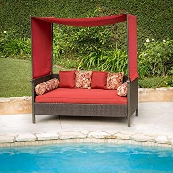 barbados outdoor wicker patio furniture canopy daybed providence protected day bed red creates wonderful space with australia nz