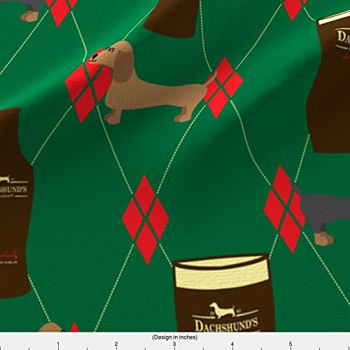 Spoonflower Fabric Irish Dachshunds Beer by Robyriker Printed on Lightweight Cotton Twill Fabric by the Yard (Light Irish Beer)
