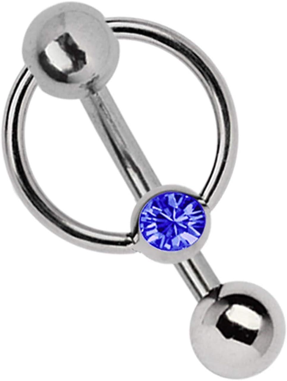 Luxor Piercing Titan plátano en 1,6 x 12 mm + 5 mm agujero de bala y abrazaderas-anillo con piedra en azul marino