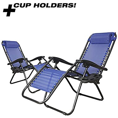 PARTYSAVING Infinity Zero Gravity Outdoor Lounge Patio Folding Reclining Chair Set of 2 APL1015 (Blue)