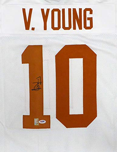 - Texas Longhorns Vince Young Autographed White Jersey PSA/DNA