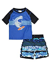 Skechers Boys Swim Suit Set with Trunks and Rashguard