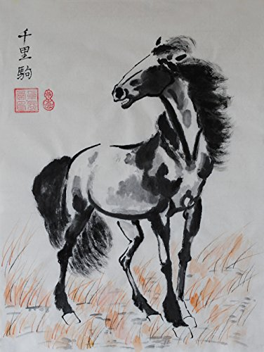 """Oridental Artwork Unframed Hand Painted Art Chinese Brush Ink and Wash Watercolor Painting Drawing Picture on Rice Paper Horse Decorations Decor for Office Living Room Bedroom (17.7""""×13.4"""") -"""