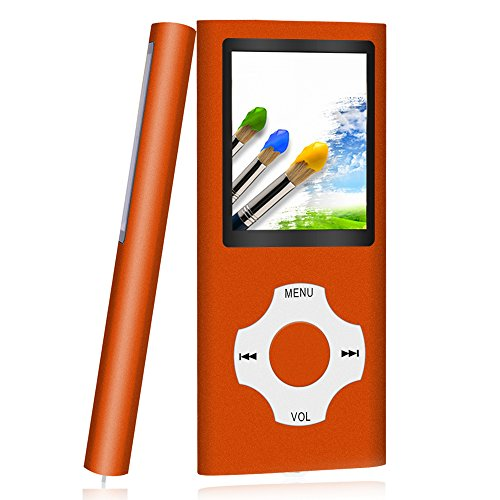 Tomameri – Compact and Portable MP3 / MP4 Player with Rhombic Button (Including a 16 GB Micro SD Card), Supporting Photo Viewer, E-Book Reader and Video – Orange