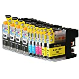 10 Pack - Compatible Ink Cartridges for Brother LC-103 LC-101 LC-103XL LC-103BK LC-103C LC-103M LC-103Y Inkjet Cartridge Compatible With Brother DCP-J152W MFC-J245 MFC-J285DW MFC-J4310DW MFC-J4410DW MFC-J450DW MFC-J4510DW MFC-J4610DW MFC-J470DW
