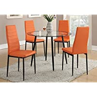 Poundex Retro Style Orange Faux Leather Dining Chairs, Set of 4