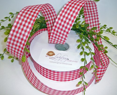 Gingham Check Ribbon Wired-Red/White, 1 ½ Inch Spool, 50 Yds - More Colors Available; Newest Trend for Premium Wreaths, Gorgeous Bows, Arts & Crafts Projects, Home Décor or Floral Arrangements - Designers Choice Arrangement
