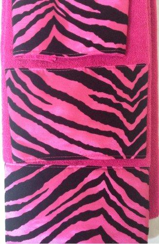 3 Piece Bath Towel Set- Black Pink Zebra Print Wash Had and