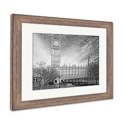 Ashley Framed Prints Famous Big Ben Clock Tower in London UK, Wall Art Home Decoration, Black/White, 30x35 (Frame Size), Rustic Barn Wood Frame, AG5615242