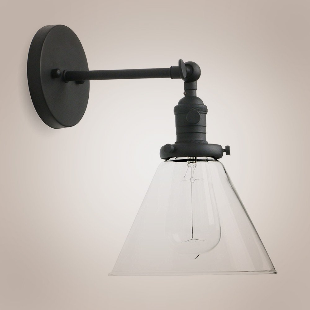 Single Sconce with Funnel Flared Glass Clear Glass Shade 1-light Wall Sconce Wall Lamp (Black)