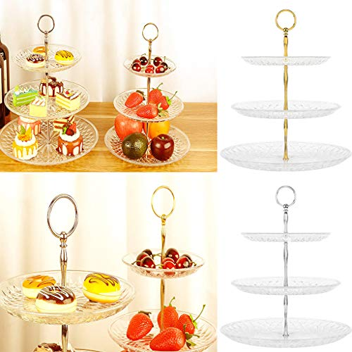 LLJEkieee 3-Tier Cake Stand Cupcake Stand Cake Dessert Wedding Event Party Display Tower Plate tea party, weddings, Christmas, Thanksgiving (25x35.5cm, Silver)