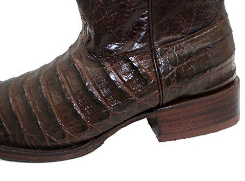 Mens Handgjorda Krokodil Alligator Magen Print Western Cowboystövlar Brun