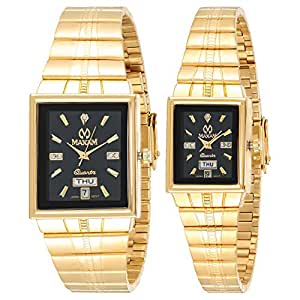 Maxam His and Hers Black Dial Stainless Steel Band Couple Watch - 5413