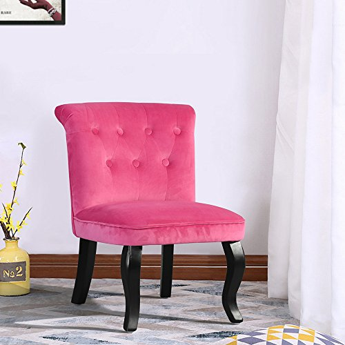 FurnitureR Accent Chair Button Tufts Armless Loveseat Sofa Lounge Chair Set of 2 Velvet Red