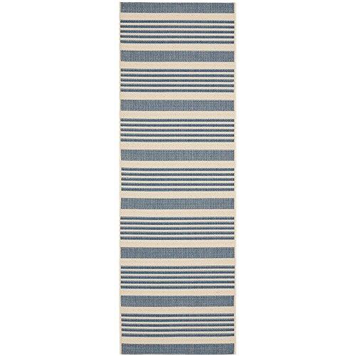 Safavieh Courtyard Collection CY6062-233 Beige and Blue Indoor/ Outdoor Runner (2'3