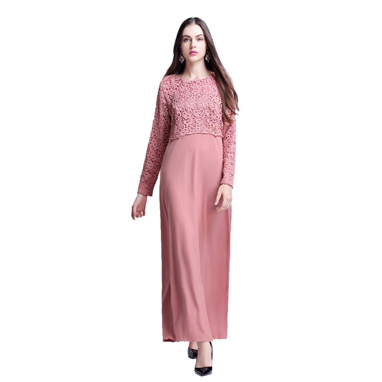 Haodasi Musulmán Mujer Abaya Vestido Islamic Manga larga Cordón ...