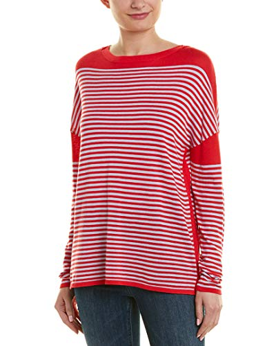 525 America Cotton Sweater - 525 America Womens Dropped-Shoulder Sweater, M, Red