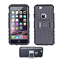 Case for iPhone 6 ,Fetrim Rugged Dual Layer Shockproof TPU Case Protective Cover for Apple iPhone 6 6S with Built-in Kickstand (Black)