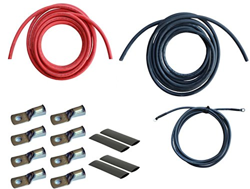WindyNation 2 Gauge AWG 15 Feet Black 15 Feet Red Power Inverter Battery Cable Wire Kit for DC to AC Inverters RV, Car, Solar, Marine, Off-Grid