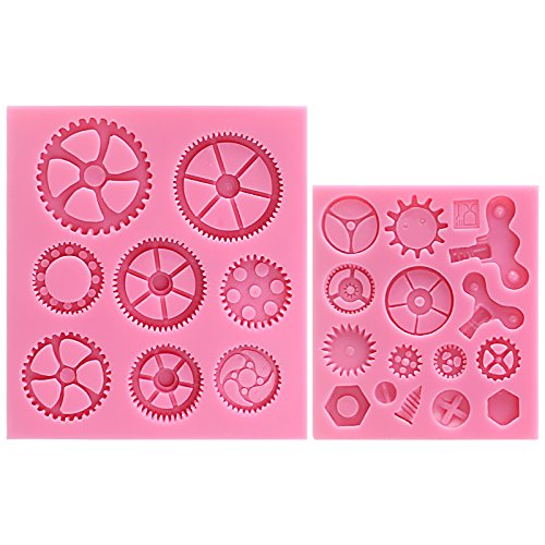 (FUNSHOWCASE Steampunk Style Clock Watch Wheel Cogs Gears Candy Silicone Mold for Sugarcraft, Cake Decoration, Cupcake Topper, Fondant, Jewelry, Polymer Clay, Crafting Projects, 2 in Set)