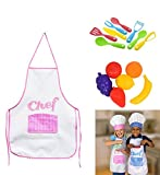 minnie chef - GIRL Kids Cooking Fun Kids Chef Hat Aprons Great for playing playset Kitchen Play Food Utensils & Pot Set Bundle of 5