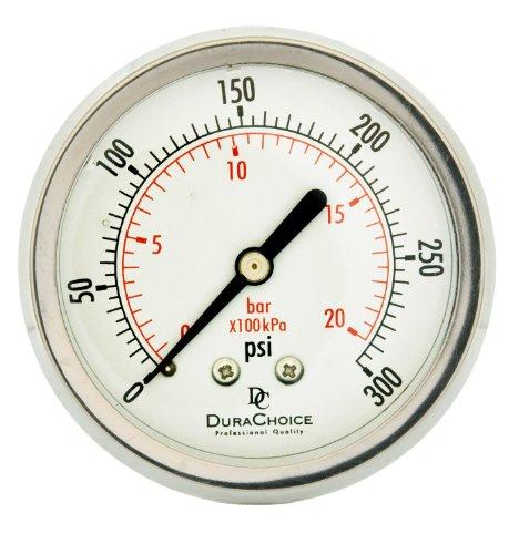 "2-1/2"" All Stainless Steel Oil Filled Pressure Gauge - 1/4"" NPT Center Back 300PSI"