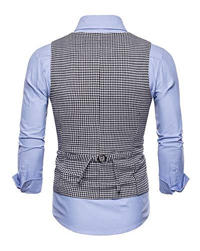 Slim neck U Veste Noir Gilet Costume Fit Modèle Boutonnage Sans Double Homme Manches OwdpqSxq
