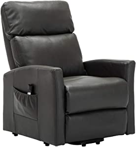 Lift Recliner Chair, Recliner Power Lift Chair Wall Hugger PU Leather with Remote, 3 Position & Side Pocket, Power Reclining Chair for Living Room Home Theater Seating, Faux Leather, Gray