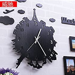 GAO Wall Clock Creative Wooden Wall Clock Drawing Personality Art Mute Bedroom Attached Table Modern Quartz Clocks Clock 20 Wall-Clock Extinguish The Black Rubber 36X28Cm
