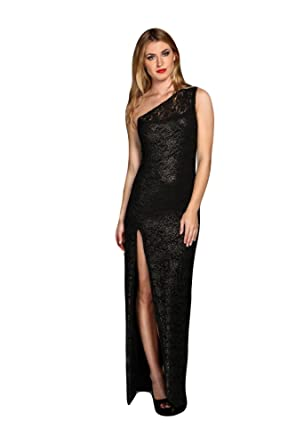 Honor Gold Angie Lace One Shoulder Celebrity Party Long Gown Maxi Dress: Amazon.co.uk: Clothing