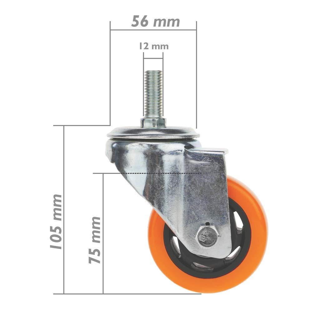 Rotelle pivotanti Ruote Industriale di Poliuretano Com Freno 75 mm M12 4-Pack PrimeMatik