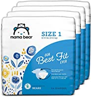 Amazon Brand - Mama Bear Best Fit Diapers Size 1, 216 Count, Bears Print (4 packs of 54) [Packaging May Vary]