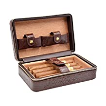 Volenx Crocodile Leather Travel Humidor Case Cedar Wood Lined 4 Fingers Holder With Stainless Steel Cutter Set