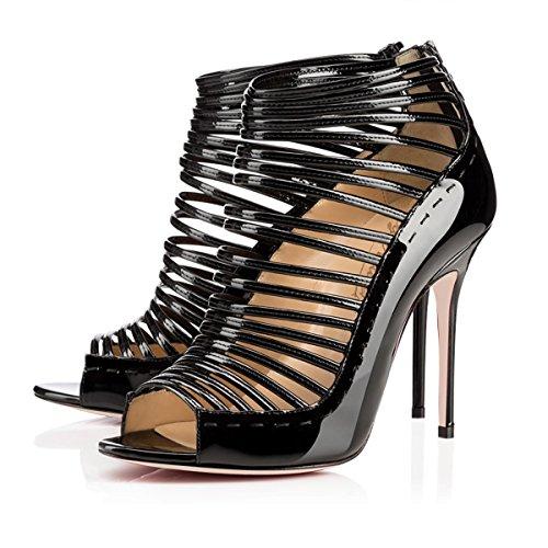 Dress Size Heel Open Sandals Shoes Joogo 9 Toe High Gladiator Stiletto 5 Women's Black Pumps En4wq7z
