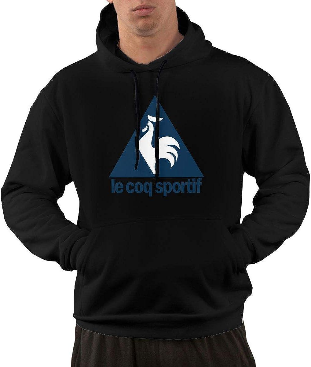 Leephen Mens Sweatshirt Print Le Coq Sportif Logo Fleece Pullover Hooded