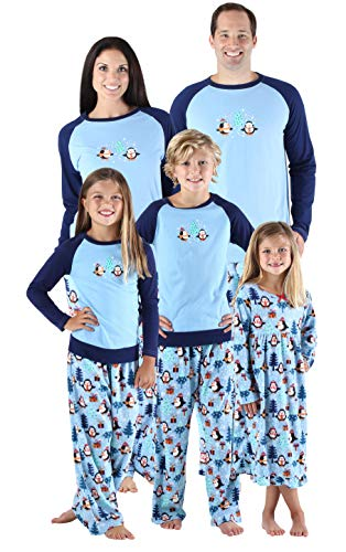 SleepytimePjs Holiday Family Matching Fleece Winter Penguin Pajama PJ Sets-Womens (STMF-3026-W-LRG) -